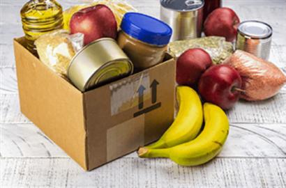 Food donation box filled with perishable and nonperishable food items
