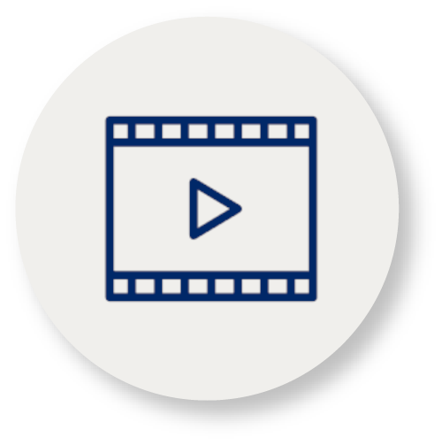 Icon with a depiction of a video