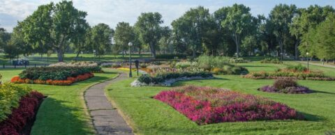 Washington Park flower beds and walking trail