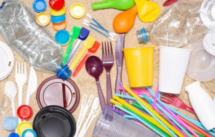 Single use plastic items commonly received with food delivery