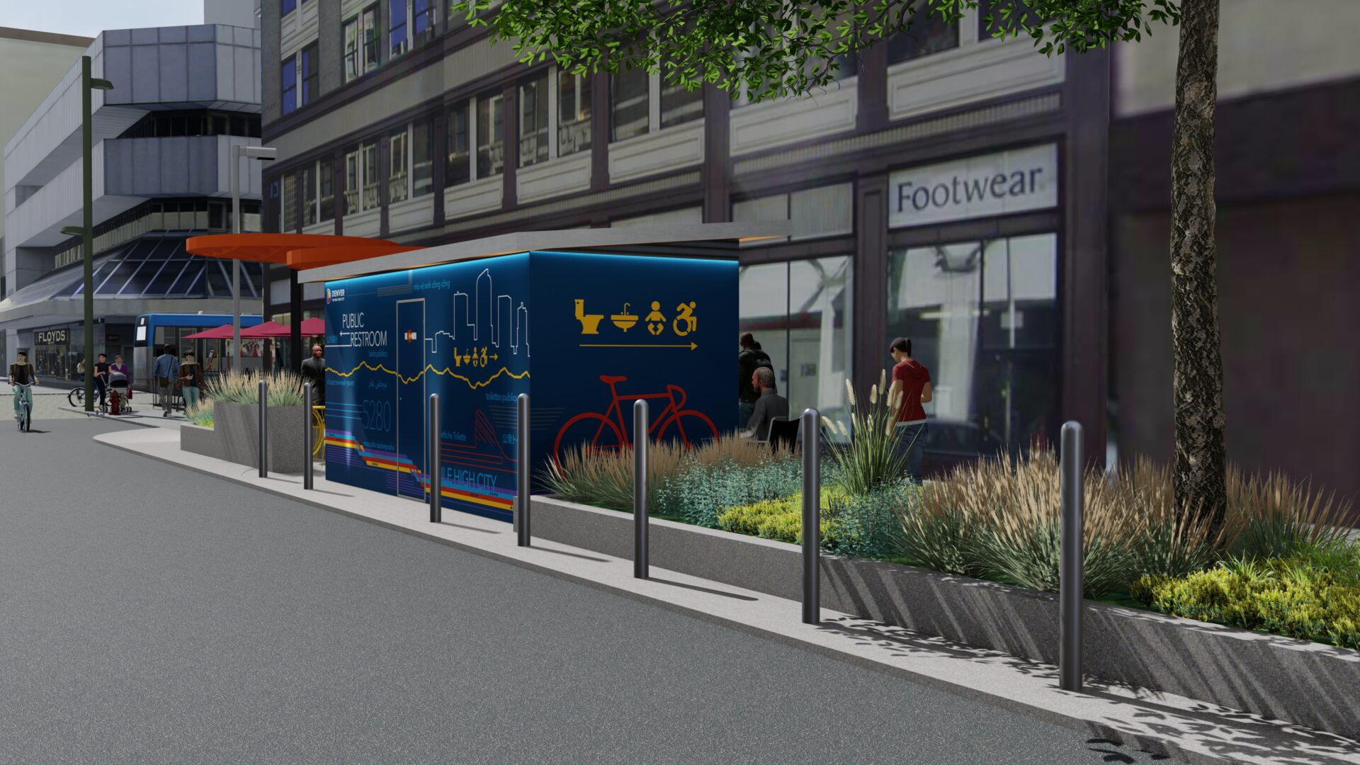 Rendering of finished area after new bathroom facility is installed on Champa St in downtown Denver.