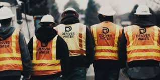 Denver Water employees wearing safety vests with backs to the camera