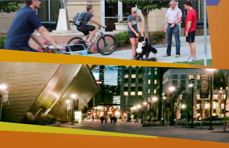 2 images of Golden Triangle neighborhood in Denver; top image shows an active neighborhood, bottom image shows the Denver Art Museum campus