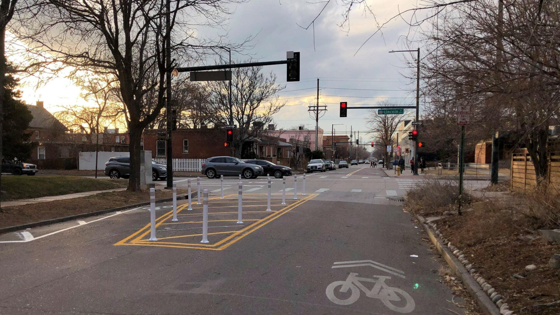 Bayaud Ave shared bike lane in Denver, CO.