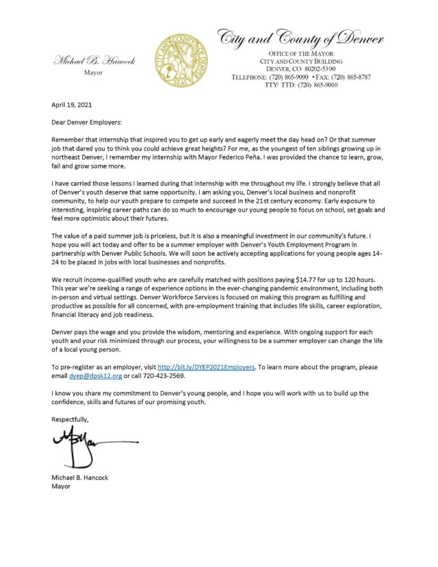 An open letter from Denver Mayor Michael B. Hancock inviting Denver employers to take part in a youth summer job program.