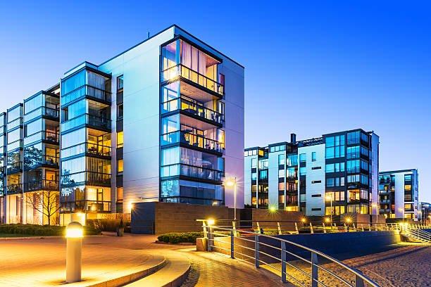 Stock image of new multifamily residential development